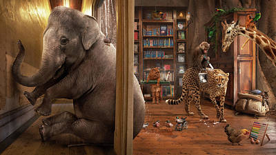 Chicken Digital Art - Elephant In The Room And Other Puns by Karen Alsop