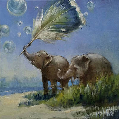 Painting - Elephants And The Feather by Mary Hubley