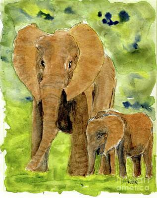 Painting - Elephants  by Andrea Rubinstein