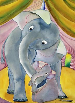 Painting - Elephants By Erik Slutsky, Watercolor by Superstock