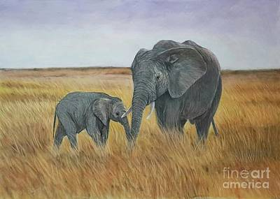 Drawing - Elephants by Maria Arias