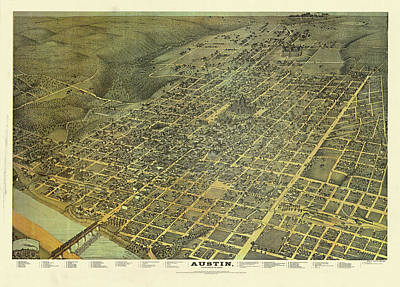 Drawing - Elevated View Of Austin In 1887 by Augustus Koch