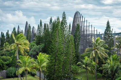 Roaring Red - Elevated View of the Tjibaou Cultural Centre in Noumea by Daniela Constantinescu