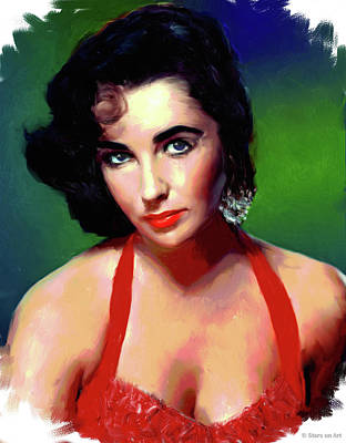 Line Drawing Quibe - Elizabeth Taylor painting by Stars on Art