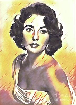 Actors Royalty-Free and Rights-Managed Images - Elizabeth Taylor, Vintage Movie Star by Esoterica Art Agency