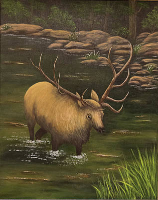 Painting - Elk by Gloria Johnson