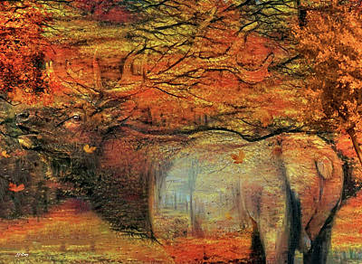 Yellowstone Mixed Media - Elk In Autumn  by G Berry