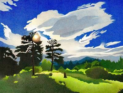 Drawing - Elk Ridge Twilight by Dan Miller