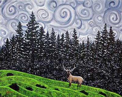 Elk Under Swirling Gray Clouds Original