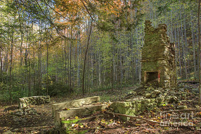 Abandoned Elkmont Wall Art - Photograph - Elkmont Chimney Remains 2 by Mike Eingle