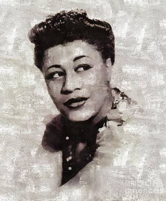 Music Paintings - Ella Fitzgerald, Music Legend by Esoterica Art Agency