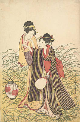Relief - Elopers In Musashino by Kitagawa Utamaro