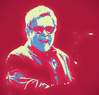 Music Paintings - Elton John Pop Art by Dan Sproul