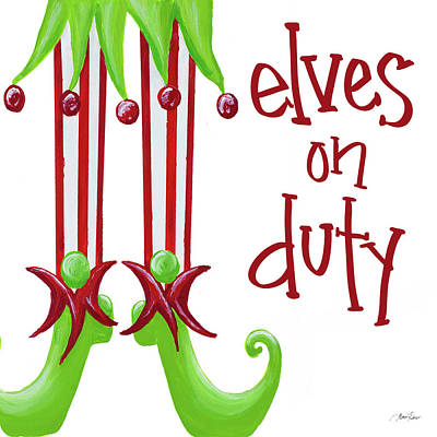 Duty Wall Art - Painting - Elves On Duty Square by Gina Ritter