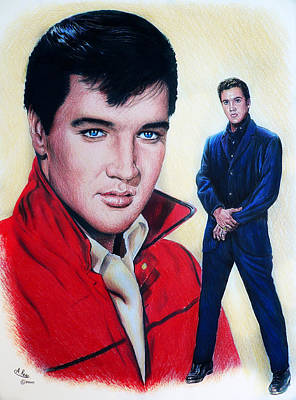 Musicians Drawings Rights Managed Images - Elvis  Royalty-Free Image by Andrew Read