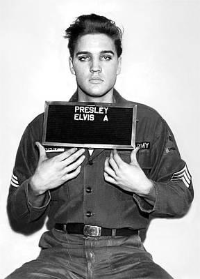 Photograph - Elvis Army Mugshot 1960 by Doc Braham