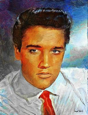 Music Paintings - ELVIS - King of Rock and Roll by Wayne Pascall