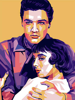 Colorful Button - Elvis Presley and Carolyn Jones by Stars on Art