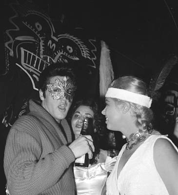 Photograph - Elvis Presley And Jeanne Carmen At A by Michael Ochs Archives