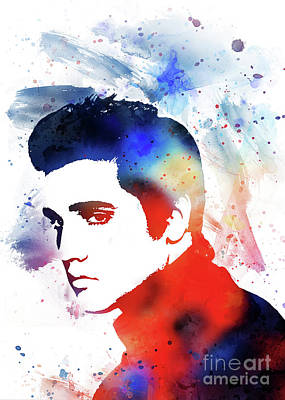 Musicians Drawings Rights Managed Images - Elvis Presley Royalty-Free Image by Ian Mitchell