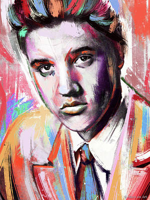Line Drawing Quibe - Elvis Presley painting by Stars on Art