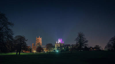 Photograph - Ely Cathedral Lit Purple by James Billings