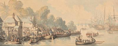 Drawing - Embarkation At Southampton, June 20th 1794 by Thomas Rowlandson