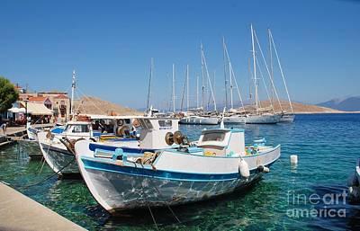 Studio Grafika Patterns - Emborio harbour boats on Halki by David Fowler