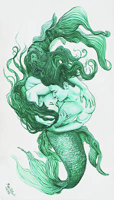 Painting - Embracing Mermen by Marc DeBauch