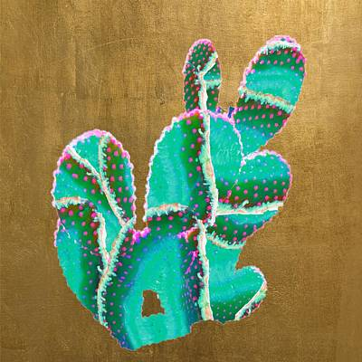 Watercolor Typographic Countries - Emerald Agate Cactus by Ash Whitt