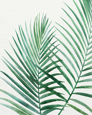 Kristian Gallagher Royalty-Free and Rights-Managed Images - Emerald Palm Fronds Watercolor by Kristian Gallagher