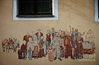 Photograph - Emigrants, Wall Painting In Silz, Tirol, Austria by Elzbieta Fazel