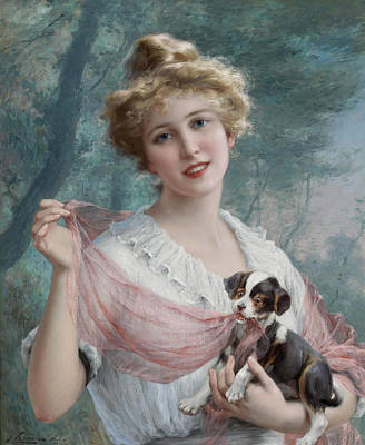 Painting -  The Mischievous Puppy by Emile Vernon