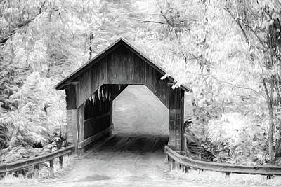 Digital Art - Emilys Covered Bridge In Black And White by Jeff Folger