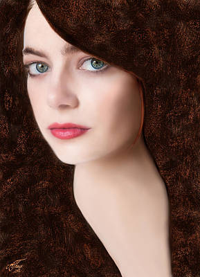 Digital Art - Emma Stone by Andreas Theis