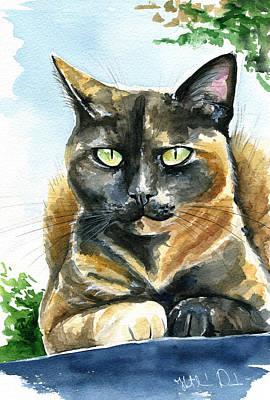 Painting - Emmy Tortoiseshell Cat Painting by Dora Hathazi Mendes