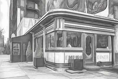 Digital Art - Empire Diner Sketch by Alison Frank