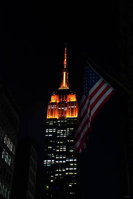 Crystal Wightman Rights Managed Images - Empire State Building American Flag Royalty-Free Image by Crystal Wightman