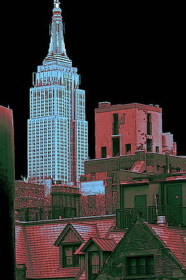 Drawing - Empire State Building New York City - Westside View by Peter Potter