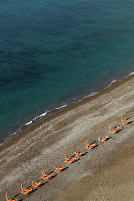 Photograph - Empty Beach Chairs On Positano Beach by Lost Horizon Images