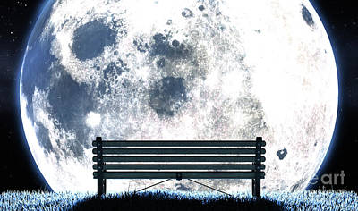 Digital Art Rights Managed Images - Empty Bench And Moon Silhouette Royalty-Free Image by Allan Swart