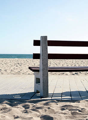 Photograph - Empty Bench At The Ocean by Frank Rothe