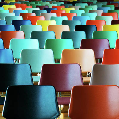 Photograph - Empty Colorful Chairs by Www.marcodewaal.nl
