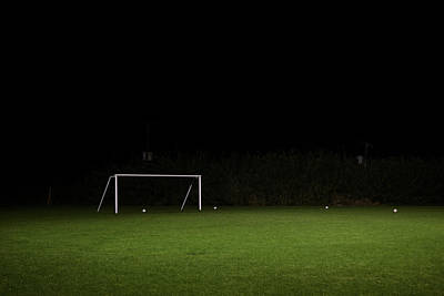 Photograph - Empty Soccer Field At Night by Tom Roberton