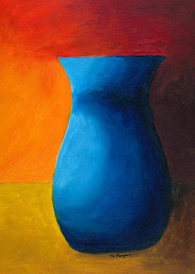 Painting - Empty Vases- Blue by Mary Elizabeth Thompson