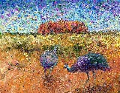 Painting - Emus At The Rock by Marie Green