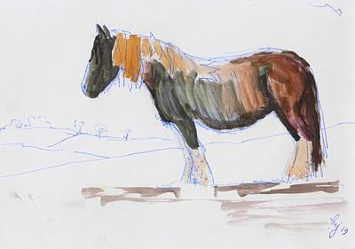 Mixed Media - En Plein Air Horse Painting by Mike Jory