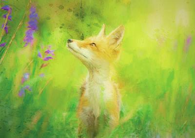 Wall Art - Mixed Media - Enchanted Fox by Amanda Lakey