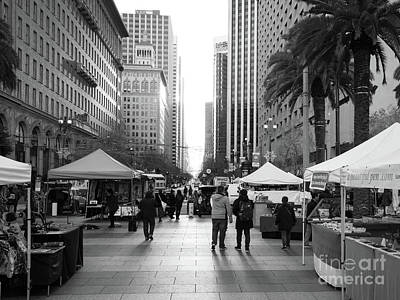 Photograph - End Of Market Street At San Francisco Embarcadero Looking Towards The Setting Sun Dsc6892bw by Wingsdomain Art and Photography