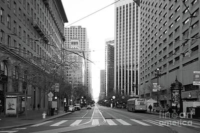 Photograph - End Of Market Street At San Francisco Embarcadero Looking Towards The Setting Sun Dsc6893bw by Wingsdomain Art and Photography